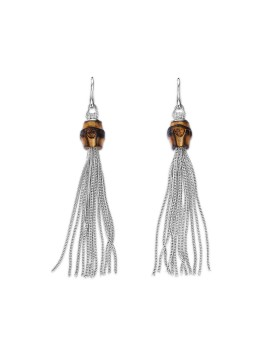 GUCCI BAMBOO EARRINGS WITH LONG FRINGES IN BURNISH SILVER