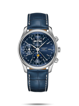 LONGINES MASTER COLLECTION WATCH IN STEEL AND BLUE ALLIGATOR LEATHER STRAP