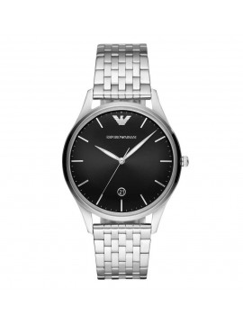 ARMANI ADRIANO WATCH IN BLACK DIAL STEEL AND STEEL BRACELET