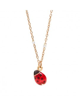 DODO LADYBUG CHAIN IN 9K PINK GOLD AND WHITE, ENAMELED LADYBUG PLATE AND PENDANT