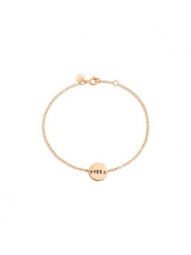 DODO YES / NO TAGS BRACELET IN 9K PINK GOLD PLATE AND BLACK ENAMEL