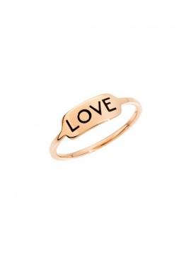 DODO LOVE RING IN 9K ROSE GOLD AND BLACK ENAMEL