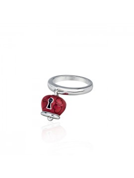 CHANTECLER RING ET VOILÀ BELL MICRO SILVER AND RED AND BLACK ENAMEL