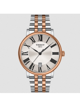 TISSOT CARSON PREMIUM ONLY TIME CLOCK IN BI-COLOR SILVER AND ROSE GOLD STEEL