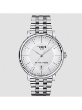 TISSOT CARSON PREMIUM POWERMATIC 80 TIME ONLY WATCH IN STEEL AND SILVER DIAL