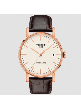TISSOT EVERYTIME SWISSMATIC WATCH IN ROSE GOLD PVD STEEL AND BROWN LEATHER STRAP