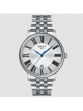 TISSOT CARSON PREMIUM WATCH ONLY TIME IN STEEL AND SILVER DIAL