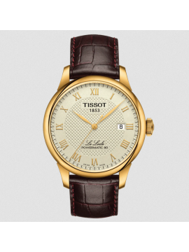 TISSOT LE LOCLE POWERMATIC 80 WATCH IN ROSE GOLD PVD STEEL AND BROWN LEATHER STRAP