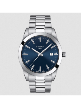 TISSOT GENTLEMAN WATCH ONLY TIME IN STEEL AND BLUE DIAL
