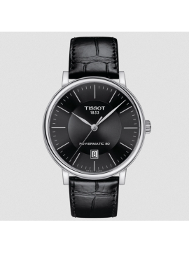 TISSOT CARSON PREMIUM POWERMATIC 80 STEEL WATCH AND BLACK LEATHER STRAP