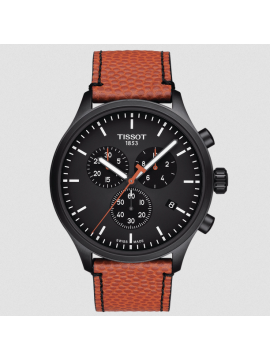 TISSOT CHRONO XL NBA SPECIAL EDITION MEN'S WATCH IN BLACK PVD STEEL AND ORANGE LEATHER STRAP