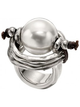 UNO DE 50 DE PERLAS RING SILVER COATED WITH WHITE PEARL