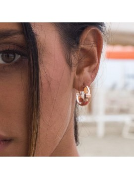 RUE DES MILLE CIRCLE EARRINGS ROUNDED WITH PERFORATED HEART SILVER GOLD PLATED PINK GOLD PLATED