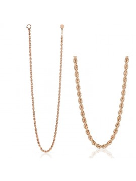 UNOAERRE LONG ROPE CHAIN NECKLACE IN PINK BRONZE