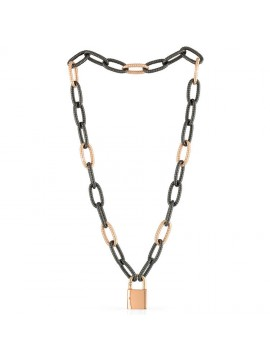 UNOAERRE PADLOCK NECKLACE WITH CABLE CHAIN IN ROSE AND BLACK BRONZE