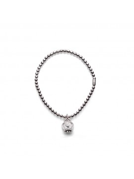 CHANTECLER Bracelet in silver with micro bell charm in shiny silver