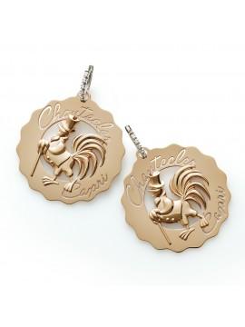 Chantecler Orecchini Logo Gallo dandy oro rosa e cerchietto con diamanti