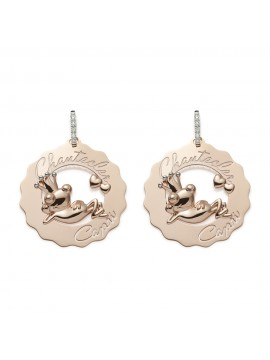 CHANTECLER Logo Chantecler Mono orecchino logo grande in oro rosa 9Kt  principe ranocchio innamorato