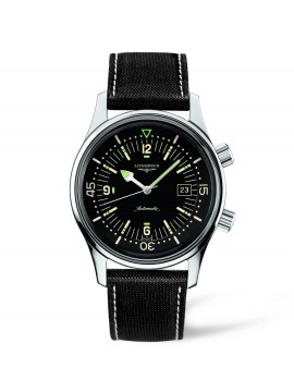 LONGINES HERITAGE DIVER AUTO WATCH 42 MM IN STEEL AND STRAP IN BLACK CANVAS