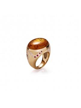 CHANTECLER Suamèm Anello in oro giallo 9kt, diamanti, rubini, smeraldi e zaffiri con caboch