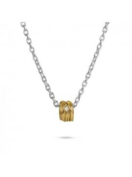 FILODELLAVITA PENDANT MINI RING 13 WIRES IN 9K YELLOW GOLD AND WHITE DIAMOND