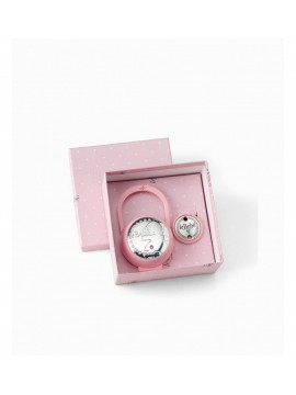 LE BEBÈ KIT DUCK HOLDER AND PINZACIUCCIO FEMININE PINK PLASTIC AND SILVER TWO-LAMINATED