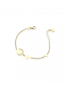 LE BABÈ PROTECT BRACELET IN YELLOW GOLD WITH COLOMBA AND GLAZED CROSS