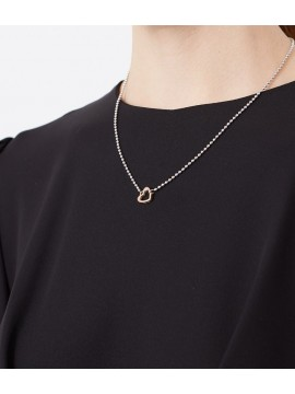 LE BEBÈ LOCK YOUR LOVE NECKLACE IN SILVER AND HEART SHAPE IN ROSE GOLD