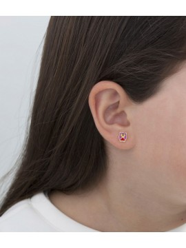 LE BABÈ FORTUNA EARRINGS IN 9K YELLOW GOLD WITH ENAMELED FOUR-LEAF CLOVER