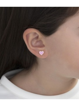 LE BABÈ FORTUNA EARRINGS IN 9K YELLOW GOLD WITH ENAMELLED HEART AND STAR
