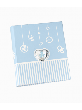 LE BEBÈ BLUE ALBUM WITH HEART FRAME IN BILAMINATED SILVER AND GLAZED SHAPE - 20X26