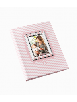 LE BEBÈ ALBUM PINK WITH SILVER FRAME AND DIARY INSIDE - 24X30CM