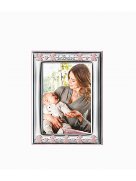 LE BEBÈ SMALL FRAME IN TWO-LAMINATED SILVER WITH PINK ENAMELLED PINK - 9x13CM