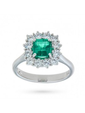 MIRCO VISCONTI WHITE GOLD RING WITH COLOMBIAN EMERALD AND DIAMONDS