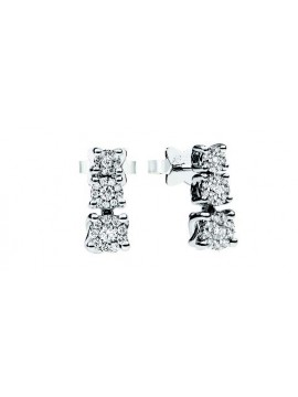 RECARLO TRILOGY EARRINGS IN WHITE GOLD AND DIAMONDS