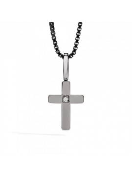 RECARLO ROUND NECK WITH CROSS IN BURNISHED WHITE GOLD, SILVER CHAIN, AND DIAMOND