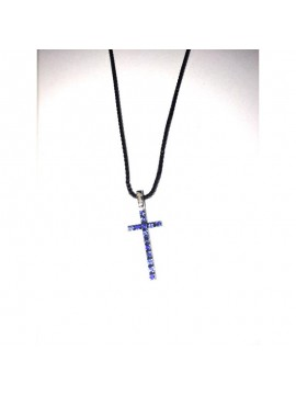 RECARLO CROSS NECKLACE IN WHITE GOLD AND SAPPHIRES