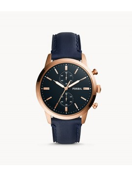 FOSSIL TOWNSMAN CHRONO WATCH IN ROSE GOLD PVD STEEL AND BLUE LEATHER STRAP