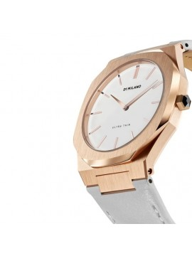 D1 MILANO ULTRA THIN ROSE GOLD TURTLEDOVE LEATHER 38 MM PINK GOLD STEEL WATCH WITH LEATHER STRAP