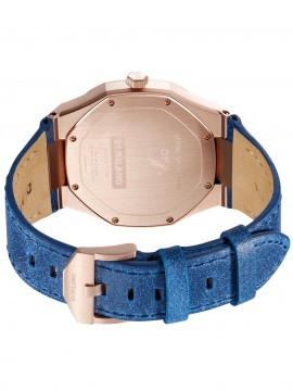D1 MILANO ISCHIA ULTRA THIN LEATHER 38MM PINK GOLD STEEL WATCH WITH BLUE LEATHER STRAP