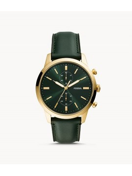 FOSSIL TOWNSMAN CHRONO GOLD PVD STEEL WATCH WITH GREEN LEATHER STRAP