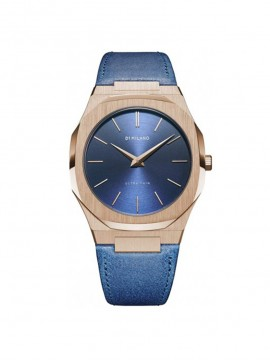 D1 MILANO GALILEO ULTRA THIN LEATHER PINK GOLD STEEL WATCH 40MM WITH BLUE LEATHER STRAP