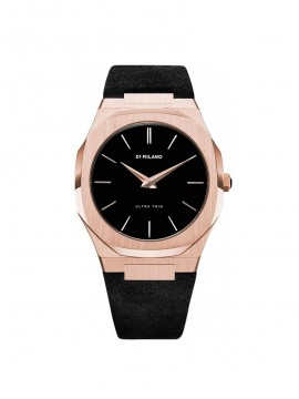 D1 MILANO ULTRA THIN ROSE GOLD LEATHER 40 MM PINK GOLD STEEL WATCH WITH BLACK LEATHER STRAP