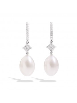 RECARLO HOOK EARRINGS IN WHITE GOLD WITH PEARLS AND DIAMONDS