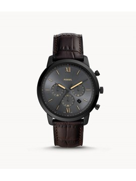 FOSSIL NEUTRA CHRONO BLACK STAINLESS STEEL WATCH WITH BROWN LEATHER STRAP