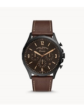 FOSSIL FORRESTER CHRONO BLACK STAINLESS STEEL WATCH WITH BROWN LEATHER STRAP