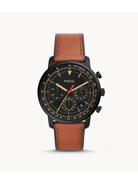 FOSSIL GOODWIN CHRONO BLACK STAINLESS STEEL WATCH WITH LEATHER STRAP COLOR LEATHER