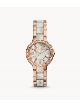 FOSSIL VIRGINIA STEEL WATCH ROSE GOLD TONE AND ROSE HORN ACETATE
