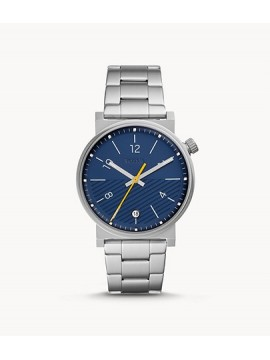 FOSSIL BARSTOW THREE BALLS STAINLESS STEEL WATCH WITH BLUE DIAL