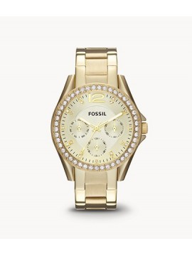FOSSIL RILEY MULTIFUNCTION STAINLESS STEEL WATCH GOLD COLOR